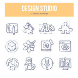 Design Studio Doodle Icons vector illustration