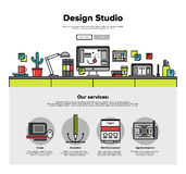 Design studio flat line web graphics Royalty Free Stock Photo