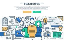 Design Studio - line design website banner Stock Photo