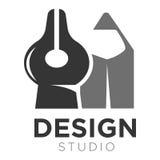 Design studio vector icon template of pen tip and pencil Stock Photos