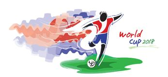Artistic figurative soccer character and watercolor feeling. Stock Photography