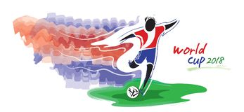 Artistic figurative soccer character and watercolor feeling. Stock Image
