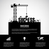 Design success building concept, vector illustration. Many men help each other to construct success building royalty free illustration