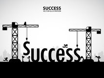 Design success building concept, vector illustration. Many men help each other to construct success building stock illustration