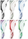 Design swirl border. A clip art collection of 6 decorative swirl borders or headers with white scroll elements on black, grey, blue, purple-green, red and green Stock Images