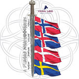 Design with a sword of the Vikings and the flags of the Scandinavian countries - Sweden, Norway, Iceland, Denmark Royalty Free Stock Image