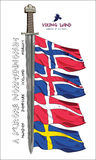 Design with a sword of the Vikings and the flags of the Scandinavian countries - Sweden, Norway, Iceland, Denmark Royalty Free Stock Photo
