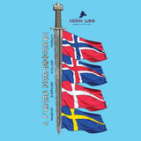 Design with a sword of the Vikings and the flags of the Scandinavian countries - Sweden, Norway, Iceland, Denmark Royalty Free Stock Images