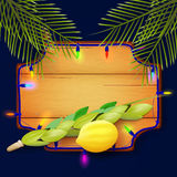 Design with symbols of the Jewish Sukkot. Royalty Free Stock Images