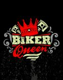 Biker queen. Design t-shirt Biker queen Royalty Free Stock Images