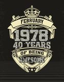 Design t shirt forti years of being awesome. Cult design of T-shirt with sign forti years of being awesome 1978 vector illustration