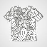 Design t-shirt with hand drawn doodle pattern. Abstract print. Stock Photo