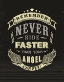 Design t-shirt never ride faster. Remember never ride faster than your angel Can fly stock illustration