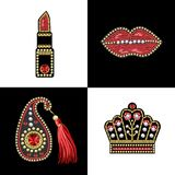 Design for t-shirt with patches with sequins and beads. Lips, paisley, lipstick, crown stickers. Design for t-shirt with patches with sequins and beads Stock Images