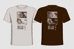 Design t-shirts with vintage printing sun, moon Royalty Free Stock Image