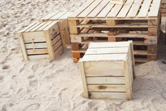 Design table and chair made from wood pallets Stock Images