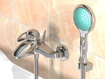 Design tap with shower. A render of a modern tap with shower royalty free illustration