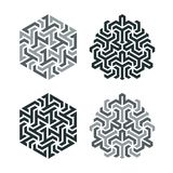 Design tattoo in the style of geometric tessellation. Element of a geometric pattern based on a hexagonal grid Royalty Free Stock Photo