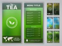 Design of a tea menu with blurred background. Menu design with blurred background (flyers, banners, brochures) for tea shops or cafes. Vector illustration. Set Royalty Free Illustration