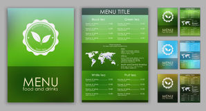 Design of a tea menu with blurred background Royalty Free Stock Images