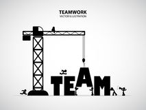 Design team building concept, vector illustration. Many men help each other to construct team building royalty free illustration