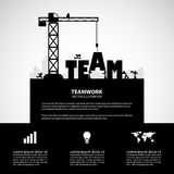 Design team building concept, vector illustration. Many men help each other to construct team building vector illustration