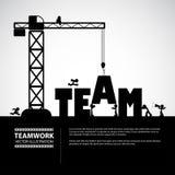 Design team building concept, vector illustration. Many men help each other to construct team building stock illustration