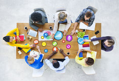 Design Team Planning with Social Media Symbols Royalty Free Stock Photography