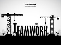 Design teamwork building concept, vector illustration. Many men help each other to construct teamwork building stock illustration