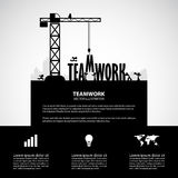 Design teamwork building concept, vector illustration. Many men help each other to construct teamwork building vector illustration