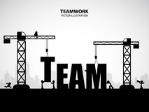 Design teamwork building concept, vector illustration. Many men help each other to construct team building royalty free illustration
