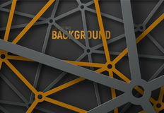 The design of the technological background with webbed in black. And yellow metal lines and circles. Abstract grid template for posters, flyers or sites. Vector Stock Images