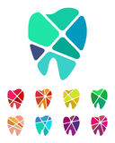 Design teeth logo element. Crushing abstract pattern. Colorful icons set Stock Photography