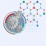 Design template for abstract science background with three dimensions cogwheels and hexagonal chemical structure Royalty Free Stock Image