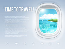 Design template with aircraft porthole and tropical landscape in it. Vector illustration, eps10. Stock Images