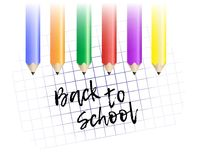 Design template Back to School. Colored pencils and exercise boo Stock Photos