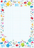 Design template background with education supplies Stock Photo