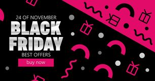 Design template banner with geometric pattern for black friday. stock illustration