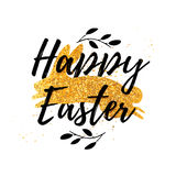 Design template banner for Happy Easter.   Silhouettes of rabbit with floral, herb, plant decoration.  Gold glitter text Stock Photography