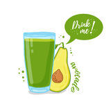 Design Template banner, poster, icons avocado smoothies. Illustration of avocado juice Drink me. Freshly squeezed fruit Royalty Free Stock Photography