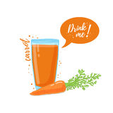 Design Template banner, poster, icons carrot smoothies. Illustration of carrot juice Drink me. Carrot fresh vegetable Stock Images