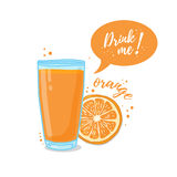 Design Template banner, poster, icons orange smoothies. Illustration of orange juice Drink me. Freshly squeezed orange juice for healthy life. Vector Royalty Free Illustration