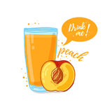 Design Template banner, poster, icons peach smoothies. Illustration of peach juice Drink me. Freshly squeezed tropical Stock Photo