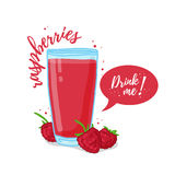 Design Template banner, poster, icons raspberries smoothies.  Stock Photography