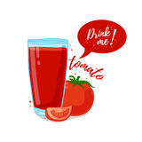 Design Template banner, poster, icons tomato smoothies. Illustration of tomato juice Drink me. Tomato fresh vegetable Royalty Free Stock Photos