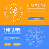 Design template banner shop lamps Line art icons Stock Photography