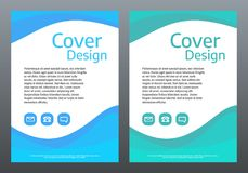 Design template for brochure or cover. Blue and green abstract waves. Creative presentation background. Vector Stock Photography