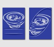 Design template for brochure or leaflet. Blue abstract cover book with stylized tornado vortex. Flyers report business magazine po. Ster in A4 layout. Vector Royalty Free Stock Photography