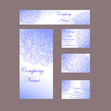 design template business cards, flyers, invitations, abstract blue flowers Doodle vector illustration