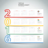 Design template 2016 calendar,  for business concept. Vector illustration Stock Photo